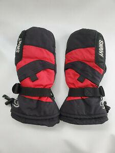 Swany Youth Black, Red Ski Mittens, size 7-8, Medium, Snow Gloves, FLEECE EUC