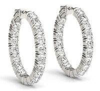 8.50 carat Round cut Diamond 14k White Gold Hoop Earring 34 x 0.25 ct 1 inch