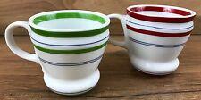 2007 Starbucks Demitasse Espresso 3oz Red Green Striped Coffee Cup Mug Set of 2