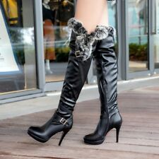 2018 Hot Women Winter Warm Fur Over knee Thigh Boots Stiletto Heels Zip Up Shoes