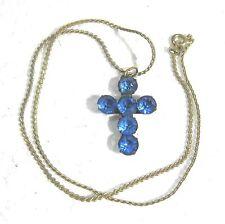 Antique cross pendant w blue rhinestones & chain B19