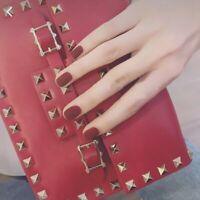 24Pc Wine Red Short Square Full Cover False Nail Art Tips Matte Scrub Fake Nails