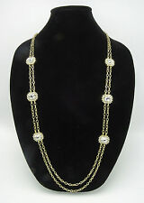 New Long Gold Tone Chain Necklace with Flashy Rhinestones NWT #N2607