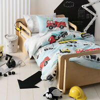 Hiccups Dusty Cotton Quilt Doona Duvet Cover Set | Fire engines, Trucks | Double