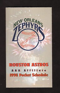 New Orleans Zephyrs--1998 Pocket Schedule--Miller Lite--Astros Affiliate