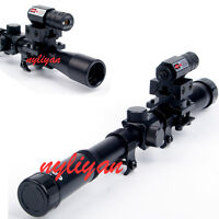 Tactical 4X20 Rifle Scope &Red Laser Sight & adapter Mount hunting Set
