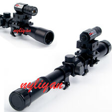 Hunting 4x20 Air Gun Optics Scope& Red Laser Sight With Barrel Adapter For Rifle