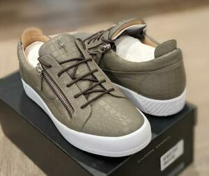 $750 Mens Giuseppe Zanotti Croc Embossed Leather Low-Top Sneakers Taupe 45 US 12