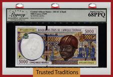 Tt Pk 604Pe 1999 Central African States / Chad 5000 Francs Lcg 68 Ppq Superb Gem