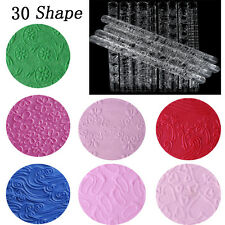 30 Shapes Textured Embossing Acrylic Rolling Pin Cake Decorating Fondant Tools