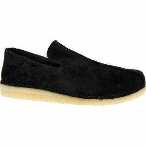 £100 CLARKS Originals Ashton Skye Black Sue Slip On Comfy Cushion Loafers UK 9.5