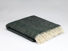 McNutt Moss Green Irish Wool Blanket Throw - Made in Ireland 100% Wool