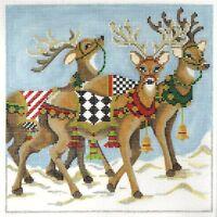Needlepoint Handpainted KELLY CLARK Christmas Prancing Reindeer 8x8