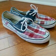 Sperry Top-Sider Plaid Canvas Boat Shoe Size 9M - Red Blue White - 9777942