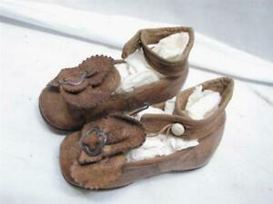 Antique Pair Victorian Leather Baby Boot Shoes Button Up Booties Ornate B