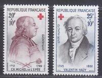 France 1959 MNH Mi 1270-1271 Sc B337-B338 Charles Michel de l'Epee & V.Hauy **