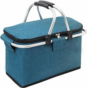 Insulated Picnic Basket,Portable Collapsible Cooler Bag, 26L Grocery Basket with
