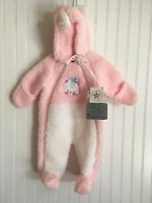 NOS VTG 1980s Baby Girl PINK Fleece Winter Bundle Up SnowSuit KITTY USA 6-12 USA