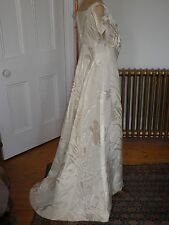 Antique Art Nouveau Woven silk  Beaded Wedding Gown size 12
