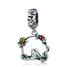 DIY Little bird Silver CZ European Charm Beads Fit 925 Pendant Necklace Bracelet