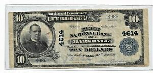 1902-TEN DOLLAR  NATIONAL CURRENCY  [ MARSHALL  MINNESOTA ] # 4614  RARE