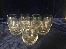 Vintage VIP Roly Poly Clear Glass Drink Tumblers Black & Gold Barware 8 - 14oz