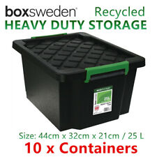 5 x 25L Heavy Duty BLACK Plastic Storage Tubs - Crate Containers Boxes Tub Bin