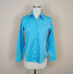 Talbots 2 Petite Wrinkle Resistant Button Down Shirt Top Long Sleeve Blue