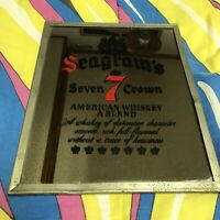 Vintage Seagram's 7 Crown Bar Man Cave Mirror 1970s Bar decoration Advertising