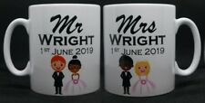 Set Of 2 Mugs Personalised Mr and Mrs Coffee Cups Wedding Engagement Gift