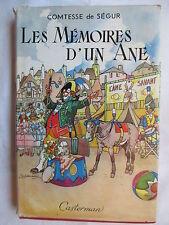 COMTESSE DE SEGUR LES MEMOIRES D'UN ANE ILLUSTR JOBBE DUVAL AVEC JAQUETTE 1956