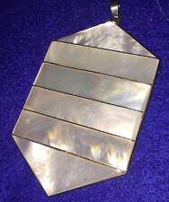 "Pendant Large Milky White Rhinestones Iridescent Sheen 2 1/2"" X 1 3/4"""