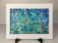 ORIGINAL Abstract Palette Knife Acrylic Canvas Painting Matted Blue Teal Gold #2