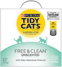 Clumping Cat Litter; Free and Clean Unscented Multi Cat Litter 40 Lb. Box