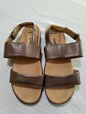 Clarks Collection Soft Cushion Sandals Size 10 Wide W Metallic Bronze