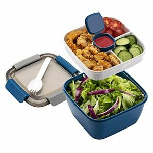 Freshmage Salad Lunch Container To Go, 52-oz Salad Bowls with 3 Compartments, Sa