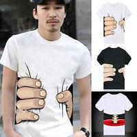 Uomo 3D Big Hand Ossa Manica Corta con Disegno Maglietta Moda Estiva Maglia