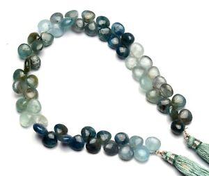 "Natural Gem Moss Aquamarine 8mm Size Smooth Heart Shape Beads 9"" Strand"