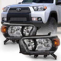 For 10-13 Toyota 4Runner Headlight Black Bezel Replacement L+R Head Signal Lamp