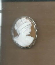 AL-011 - Sterling Silver Carved Shell Cameo 1920's 30's Woman's Bust  Vintage