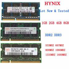 For Hynix 8GB 4GB 2GB DDR2 DDR3 800 1333MHz PC3 12800 6400 Laptop Memory RAM Lot