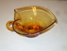 Amber Glass Nut Bowl with Handle, Fluted Rim (#kj49)