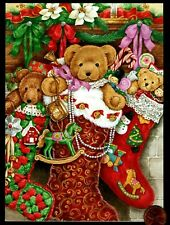 Vintage Christmas Teddy Bears Stocking Ornaments Christmas Greeting Note Card