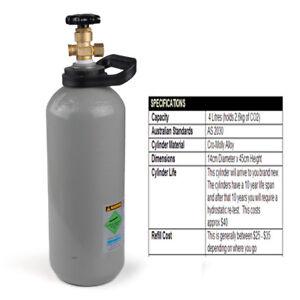 2.6Kg 4 Litres Carbon Dioxide CO2 Gas Bottle Cylinder Full  AU Standard