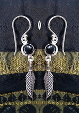 485 Black Onyx feather earring solid 925 sterling silver rrp$34.95