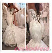 Sexy Mermaid White/Ivory Lace Beaded Wedding Dress Corset Customized Bridal Gown