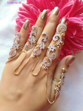 Finger Ring Full Hand Cluff Set Tjh Indian Bollywood Cz Designer Hand Cluff With