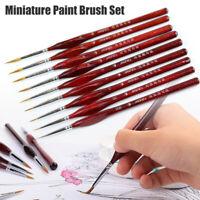9Pcs Paint Brush Set Professional Hair Detail Miniature Art Nail Brushes New #cw