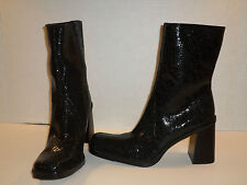 BASS WOMENS AIME BLACK LEATHER TEXTURED SHINY BOOTS SIZE 9.5 VERY NICE