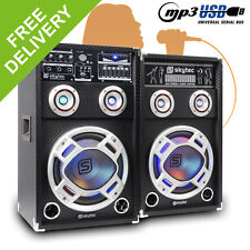"Pair of Skytec 8"" PA Active Speakers Set RGB LED Karaoke DJ Disco Party 600W"